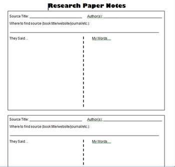 Research Note Cards Template by Research Paper Student Notes Template Information