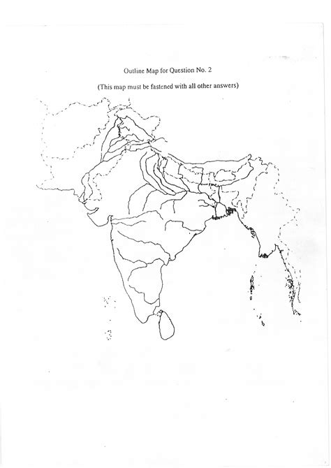 Rivers Of India Map Outline by Geography Sle India Map Outline Helpline For Icse Students Class 10