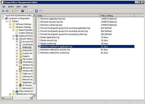 windows group policy settings  event logs server fault