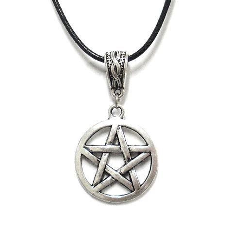 pentagram pendant supernatural wicca genuine leather cord