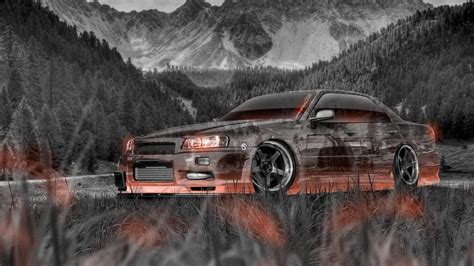 jdm nissan skyline r34 nissan skyline jdm r34 sedan tuning crystal nature car