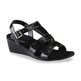 vionic s glenda black wedge sandal wide width clothing shoes jewelry shoes