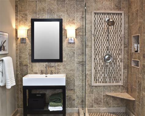 fusion mixed bathroom with ceramic travertine and glass bathroom colors