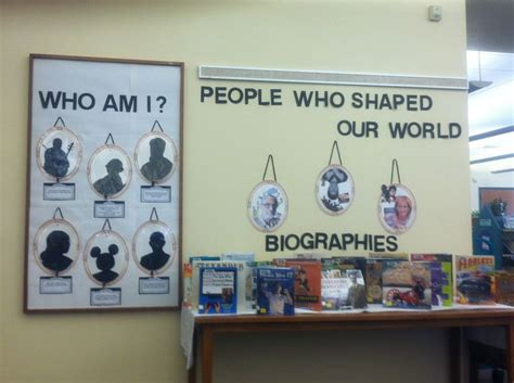 biography bulletin board title ideas biography display library displays pinterest