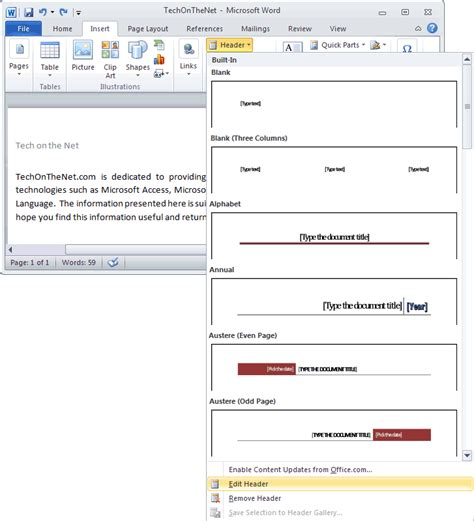 delete header section ms word 2010 edit a header