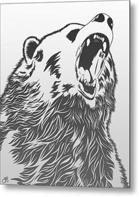 bear cool painting wildlife angry fan black white brush