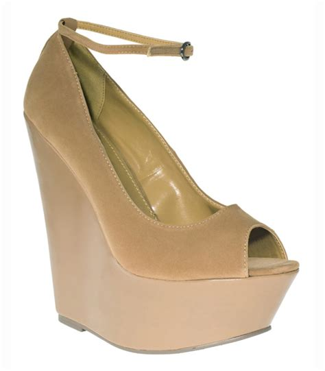new light brown suede peep toe ankle wedges 3 8