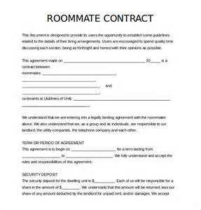 Roommate Contract Template 12 roommate agreement templates free sle exle