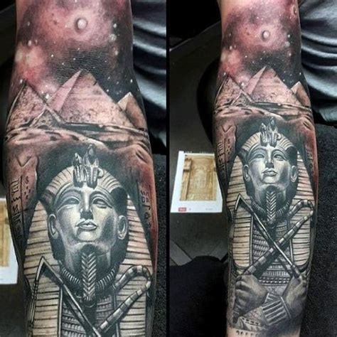 tattoo history egypt mens full sleeve tattoo of king tut with ancient egyptian