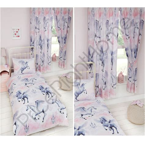 single bed sets with matching curtains stardust unicorn duvet cover sets matching curtains single junior new ebay
