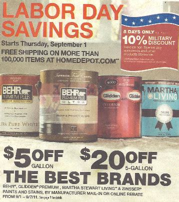 home depot behr paint labor day rebate