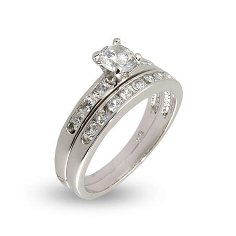 wedding ring simple simple channel set cz wedding ring set s addiction 174