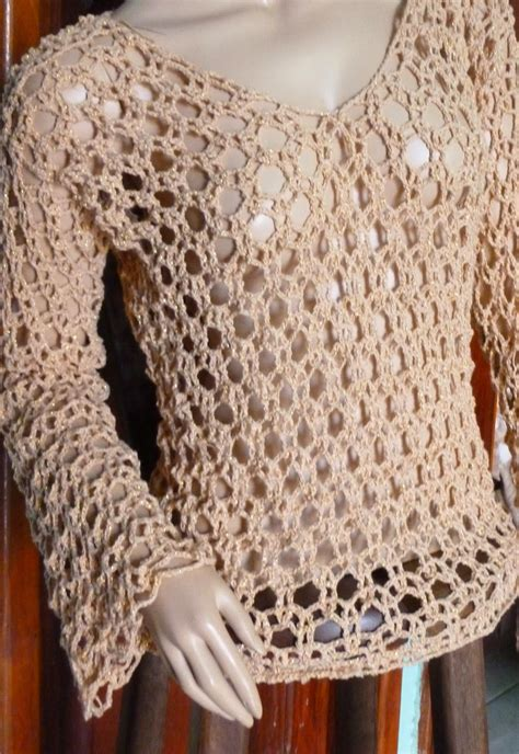 Galerry blusa de croche manga longa