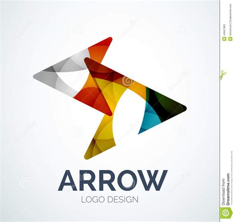 logo design and layout arrow icon logo design made of color pieces stock vector