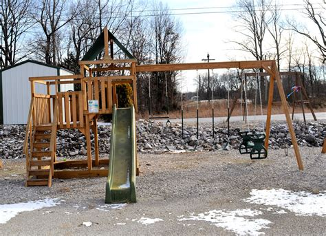 rent to own swing sets corydon in raber portable storage barns