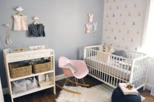 modern and cozy baby girl nursery with trendy triangles decor kidsomania