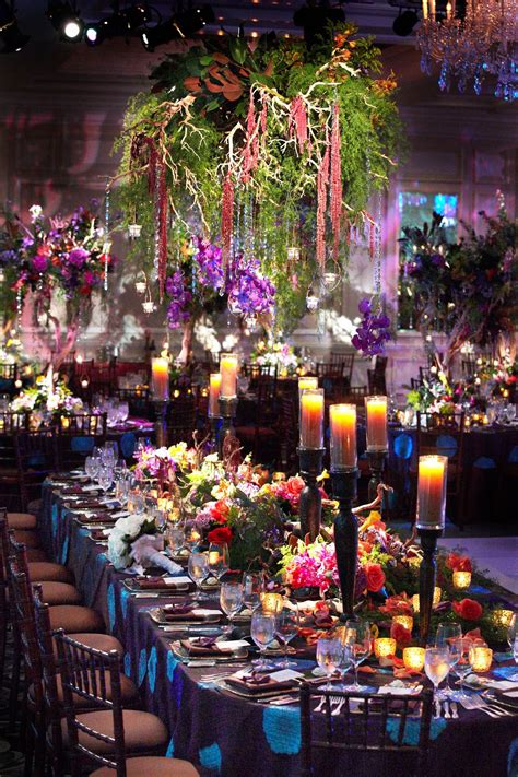 colorful ballroom wedding in chicago with quot enchanted forest quot theme table settings ballroom