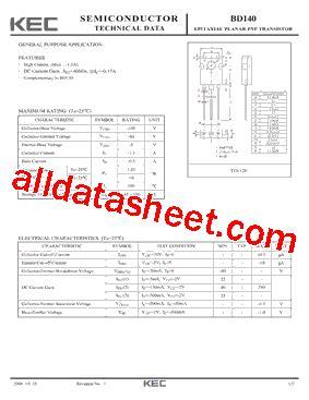 bd140 all transistor datasheet bd140 datasheet pdf kec korea electronics
