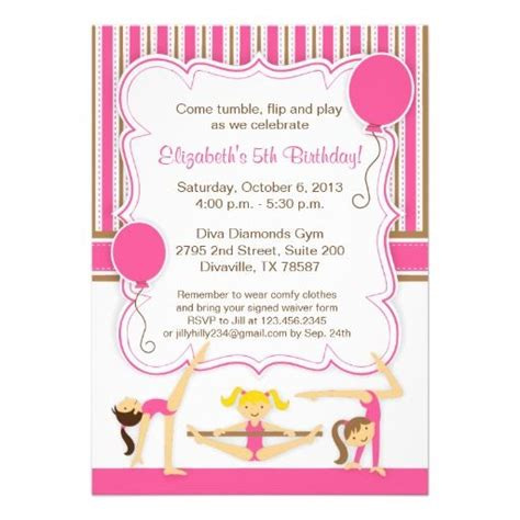 printable gymnastics invitation cute gymnastics birthday party invitation gymnastics