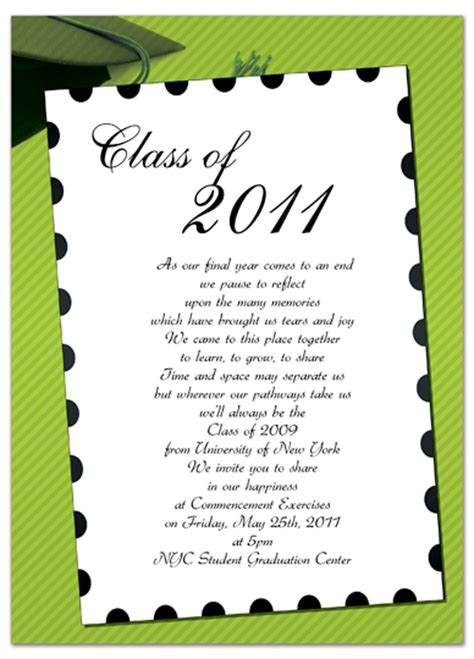 graduation invitation card template word free graduation invitation announcement green