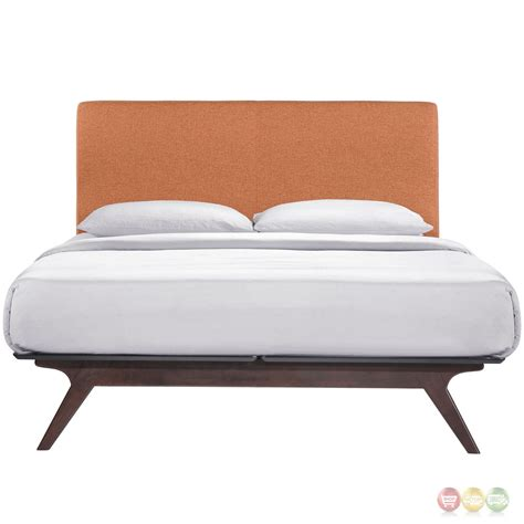 platform full bed tracy contemporary upholstered platform full bed cappuccino orange
