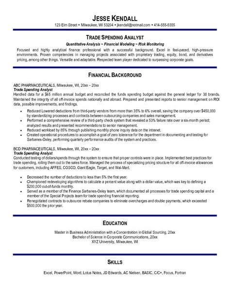 Free Resume Sles Financial Analyst Free Trade Spending Analyst Resume Exle
