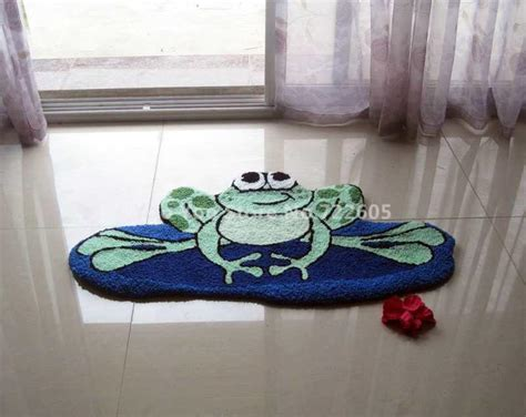 Handmade Animal Frog Bath Rug Shaggy Rug Machine Washable Frog Bathroom Rug