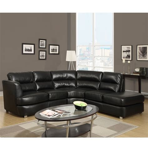 3 piece leather sectional shop monarch specialties 3 piece black bonded leather