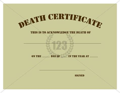 templates for death certificates free death certificate template certificate template