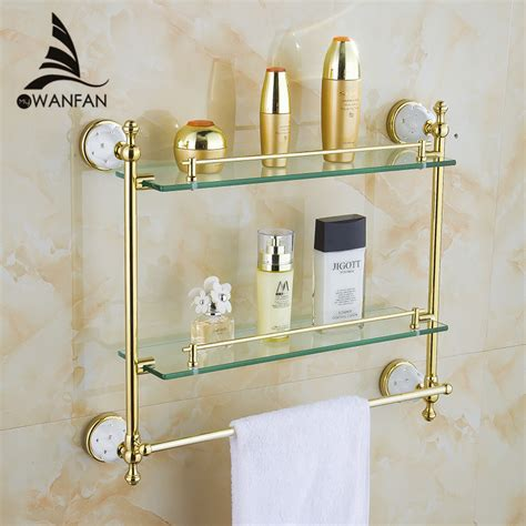 Online Get Cheap Double Glass Shelf Aliexpress Com Cheap Bathroom Shelves