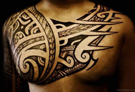 tribal tattoos chest to shoulder 61 stylish tribal tattoos on chest