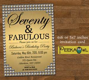 printable gold pearl 70th birthday invitation card seventy