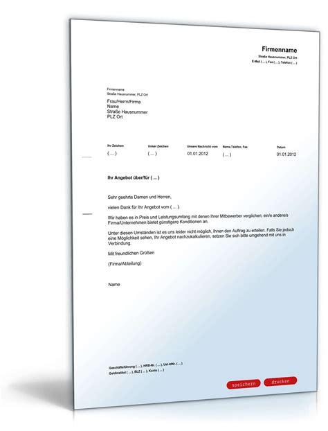 Musterbriefe Absage Bewerbung Absage Angebot Wegen G 252 Nstigeren Mitbewerbers Muster Zum