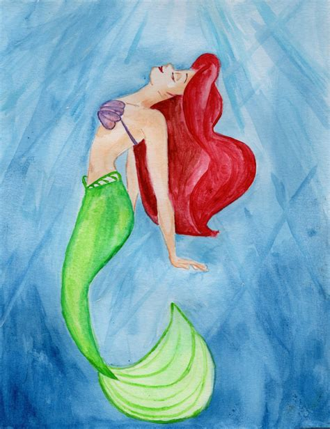 ariel painting the mermaid ariel watercolor by julesrizz on