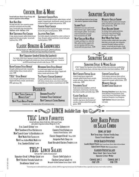 texas land cattle steak house the peddler steak house menu