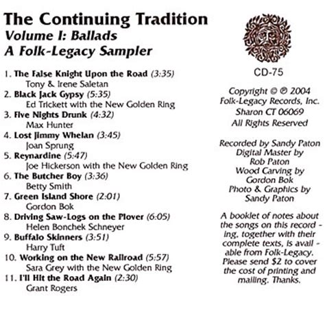exle of ballad various artists the continuing tradition sler