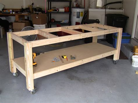 build wooden diy workbench on casters plans download drop