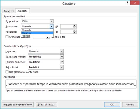 a finestra testo modifica della spaziatura testo supporto di office
