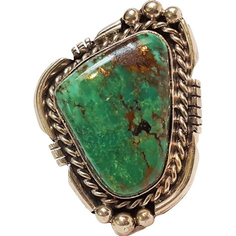 navajo sterling silver turquoise ring dc from green