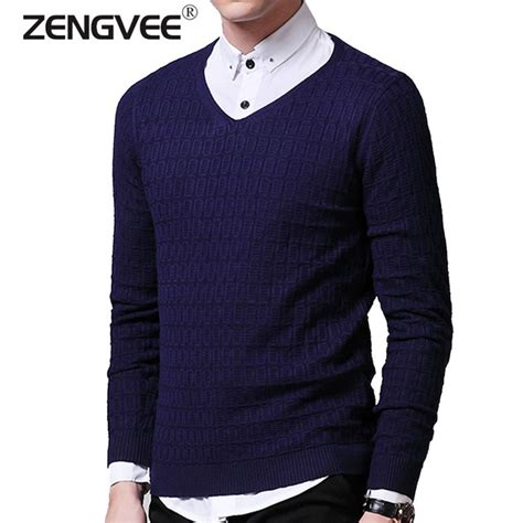 Sweater Rajut Collar aliexpress buy solid color pullover v neck sweater sleeve shirt mens sweaters