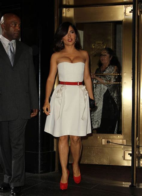 Salma Hayek When Bad Shoes Happen To Dresses by Salma Hayek In White Dress 6 Pics