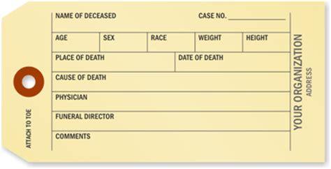 printable toe tags morgue toe tags coroner funeral toe tags