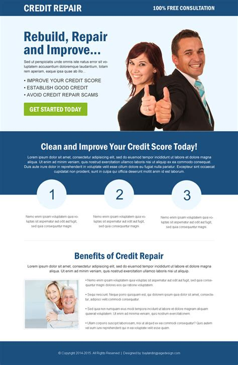 Photo Credit Page Format Credit Repair Responsive Landing Page Design To Boost Conversion