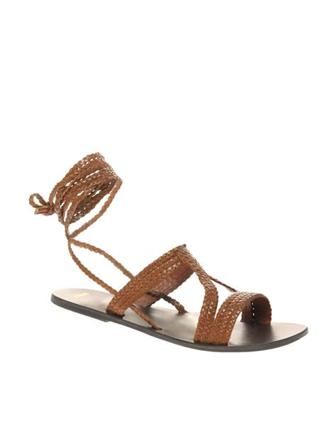 brown sandals asos asos fiji leather tie up flat sandals in brown lyst