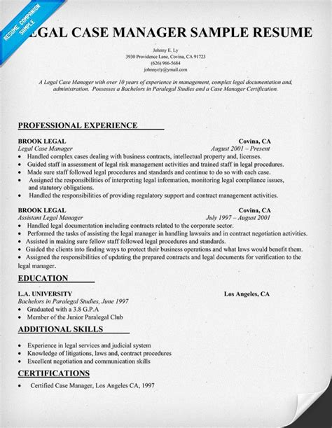 legal case manager resume sle job pinterest