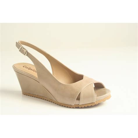 Peep Toe Wedges calpierre calpierre taupe patent leather wedge with peep