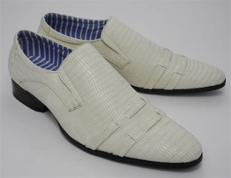 ivory dress shoes for mens snakeskin look slip on dress wedding shoes ivory