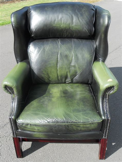 green leather armchair green leather wing armchair