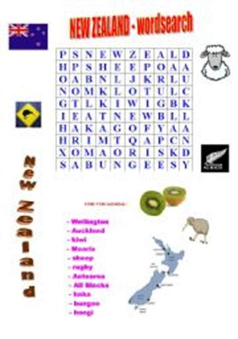 Free Search Nz Worksheets New Zealand Wordsearch