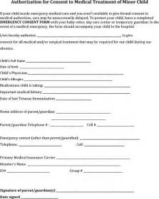 Authorization Letter For Child free authorization for consent to medical treatment of minor child